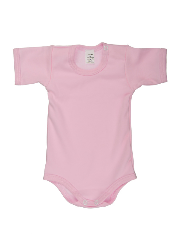Body krátky rukáv (jednofarebné) - ružové - Veľkost: 74