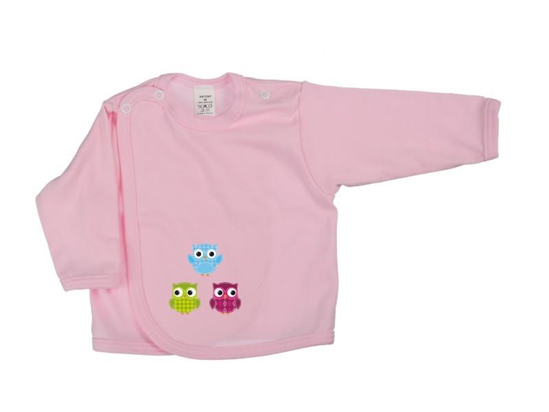 Prekladací kabátik - Sovičky - ružový - Veľkost: 62