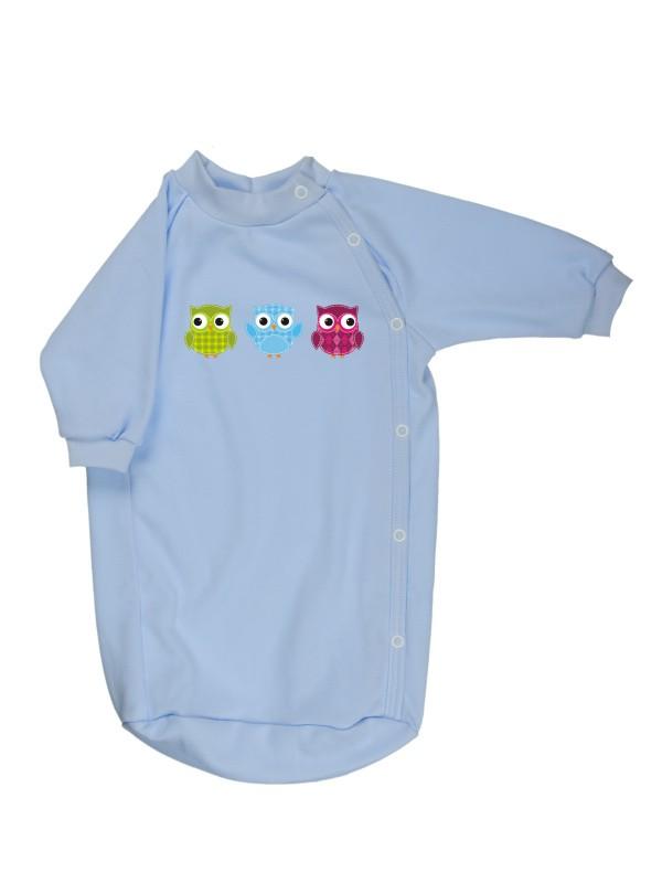 Bavlnený spací vak - Sovičky - modrý - Veľkost: 56