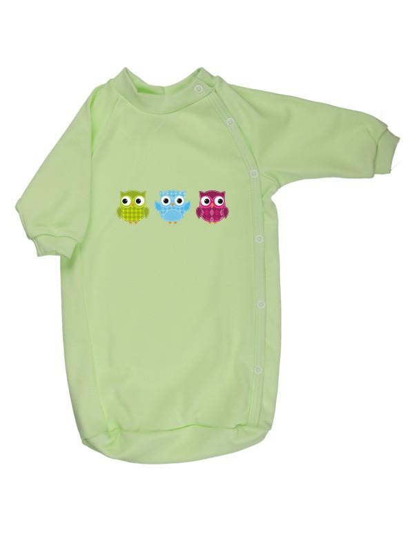 Bavlnený spací vak - Sovičky - zelený - Veľkost: 56