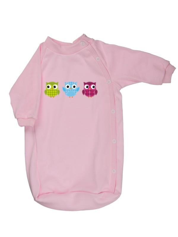 Bavlnený spací vak - Sovičky - ružový - Veľkost: 56