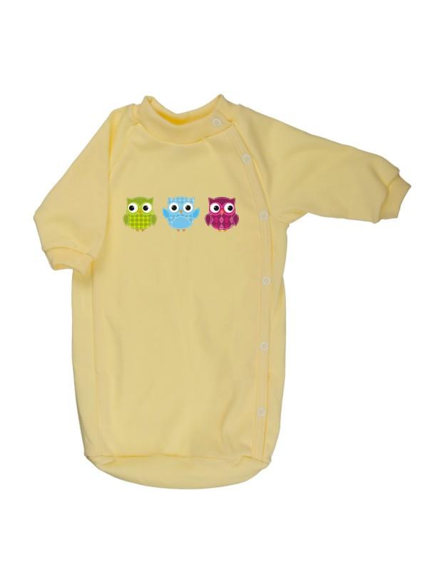 Bavlnený spací vak - Sovičky - žltý - Veľkost: 56