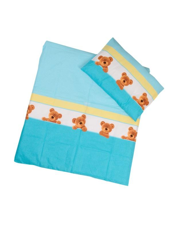 Obliečky (modré) - Macík - Veľkost: 120x90 (paplón) + 40x60 (vankúš)