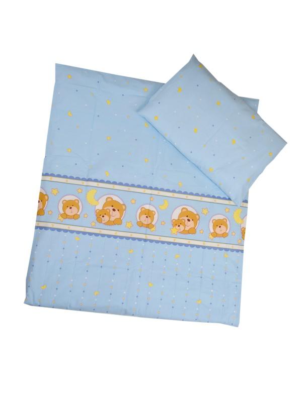Obliečky (modré) - Mackovia - Veľkost: 120x90 (paplón) + 40x60 (vankúš)