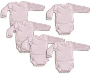 AKCIA - Body dlhý rukáv (biele) - 4+1 zdarma - Veľkost: 50