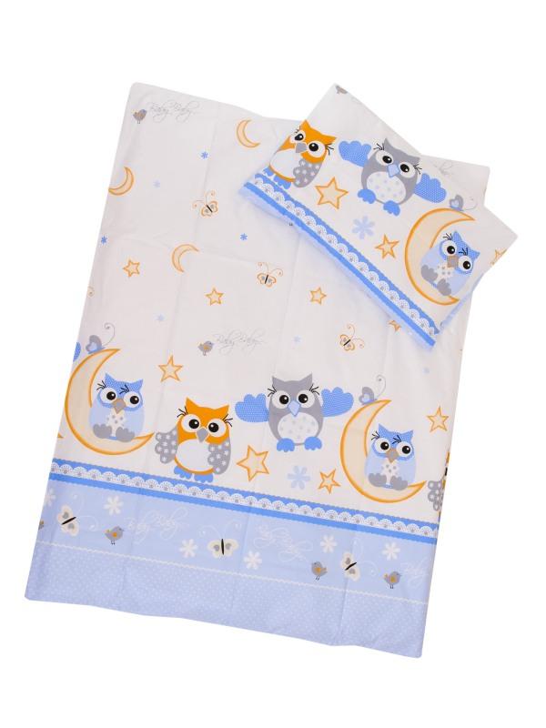 Obliečky (modrá) - Sovy - veľké - Veľkost: 120x90 (paplón) + 40x60 (vankúš)