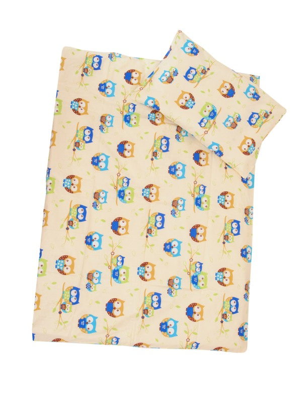 Obliečky (smotanová) - Sovy - malé - Veľkost: 120x90 (paplón) + 40x60 (vankúš)