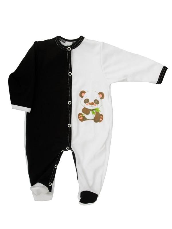 Overal rozopínací (bielo-čierny) - Panda - Veľkost: 56