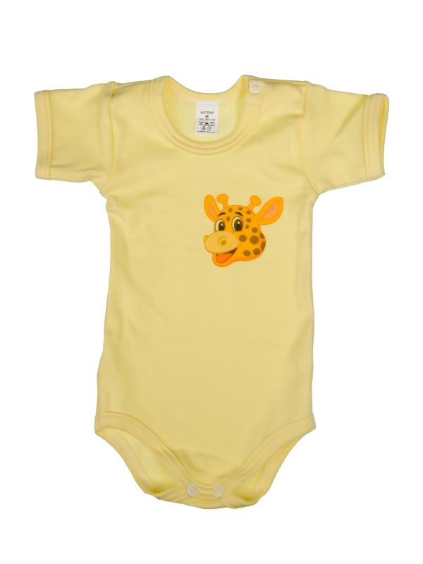 Body krátky rukáv (žltý) - ŽIRAFA (hlava) - Veľkost: 74