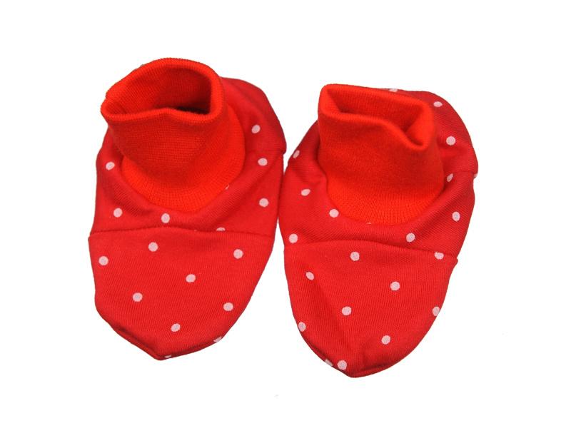 Papučky bavlnené - Bodka - červené - Veľkost: UNI