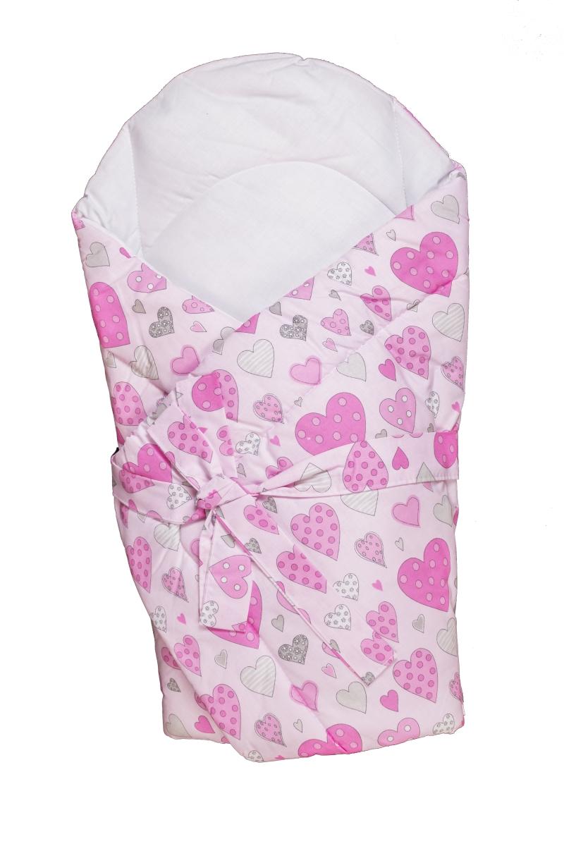 Zavinovačka s výstužou (ružová) - Srdiečka - rozmer: 70x70 (cm)