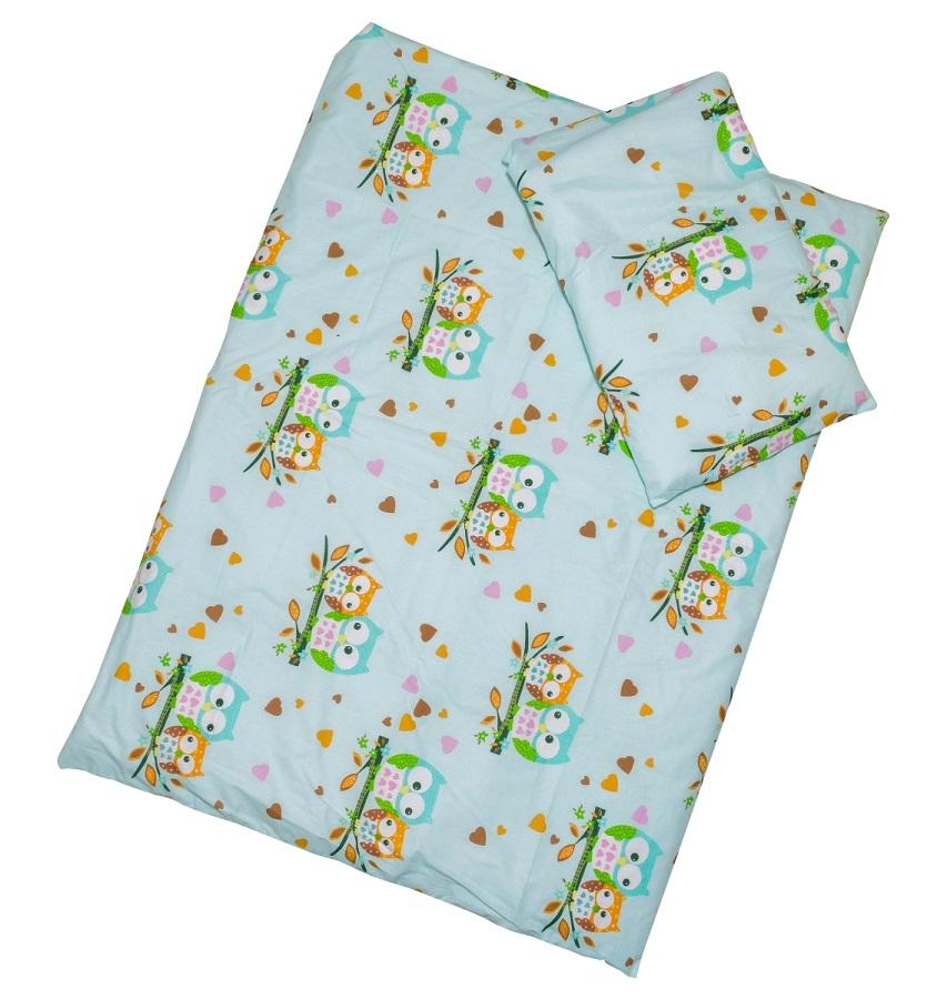 Obliečky (tyrkysové) - Sovy - malé - Veľkost: 120x90 (paplón) + 40x60 (vankúš)