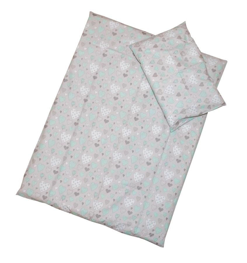 Obliečky (šedé) - Srdiečka - Veľkost: 120x90 (paplón) + 40x60 (vankúš)