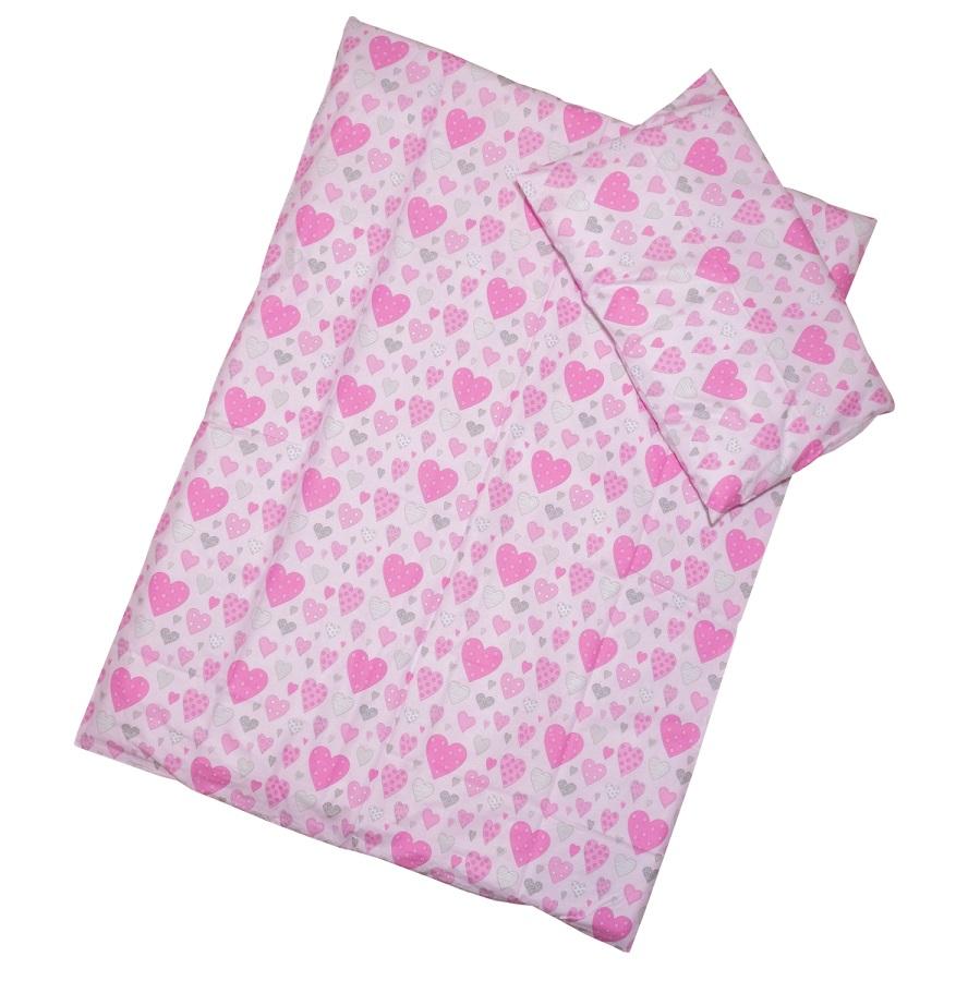 Obliečky (ružové) - Srdiečka - Veľkost: 120x90 (paplón) + 40x60 (vankúš)