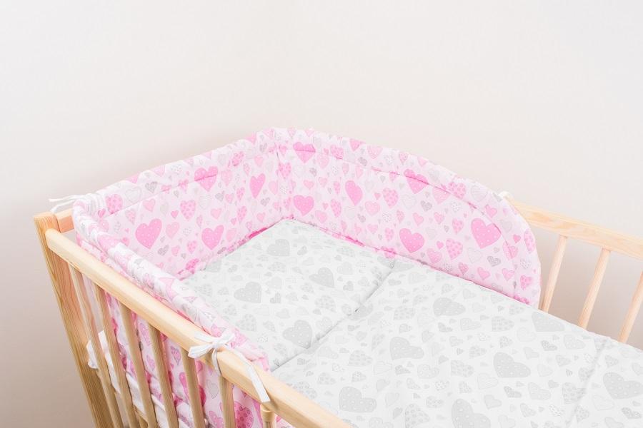 Mantinel (ružový) - Srdiečka - Veľkost: 175 cm x 30 cm