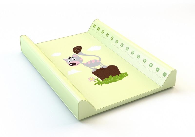 Montovací prebaľovací pult (zelený) - mačička - Rozmer: 70x50x9 cm