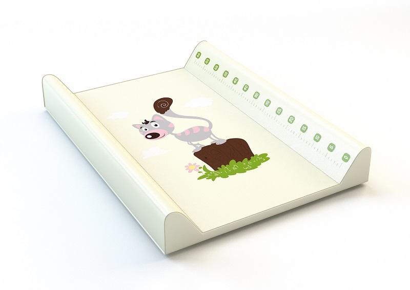 Montovací prebaľovací pult (biely) - mačička - Rozmer: 70x50x9 cm