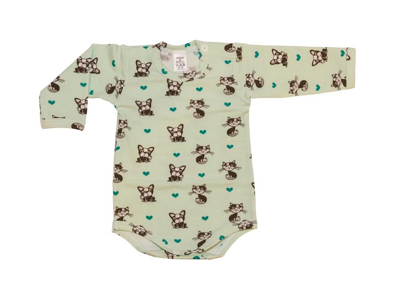 0907a61bcbec Body dlhý rukáv - psík a mačička - zelené - Antony - Detské ...