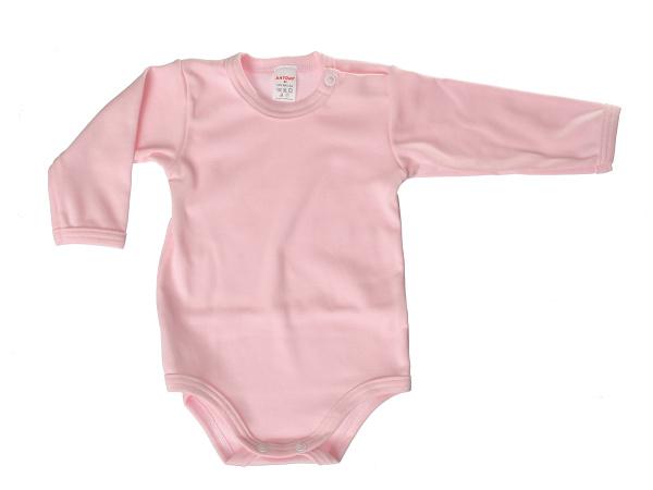 Body dlhý rukáv - jednofarebné (ružové) - Veľkost: 80