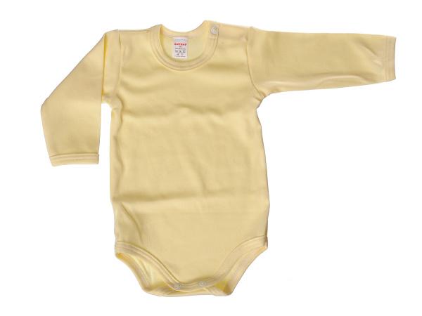 Body dlhý rukáv - jednofarebné (žlté) - Veľkost: 80