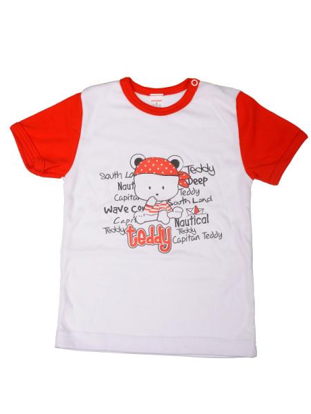 Tričko krátky rukáv červené - teddy - Veľkost: 110
