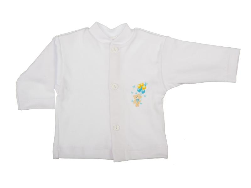 Bavlnený kabátik - Macko modrý (biely) - Veľkost: 80