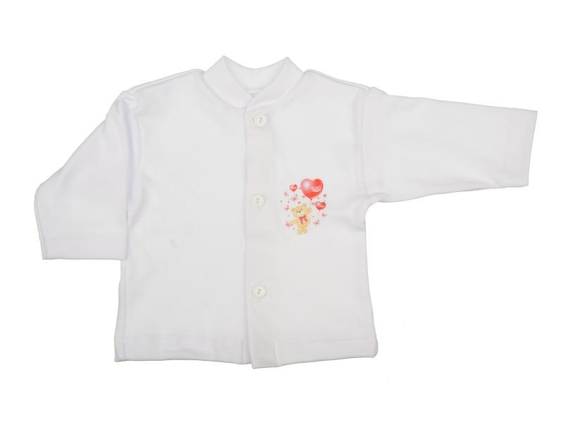 Bavlnený kabátik - Macko červený (biely) - Veľkost: 74