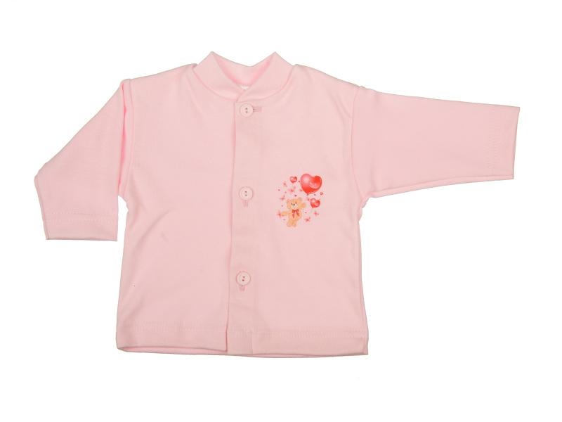 Bavlnený kabátik - Macko červený (ružový) - Veľkost: 80