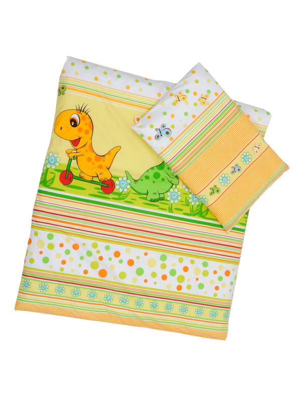Obliečky (zeleno-žltá) - Dino - Veľkost: 120x90 (paplón) + 40x60 (vankúš)