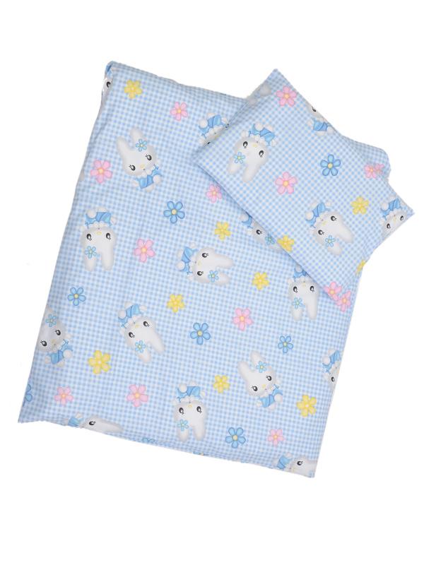 Obliečky (modro-biela) - Mačička - Veľkost: 120x90 (paplón) + 40x60 (vankúš)