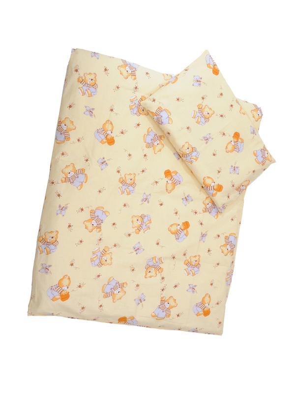 Obliečky (žltá) - Macko s medom - Veľkost: 120x90 (paplón) + 40x60 (vankúš)