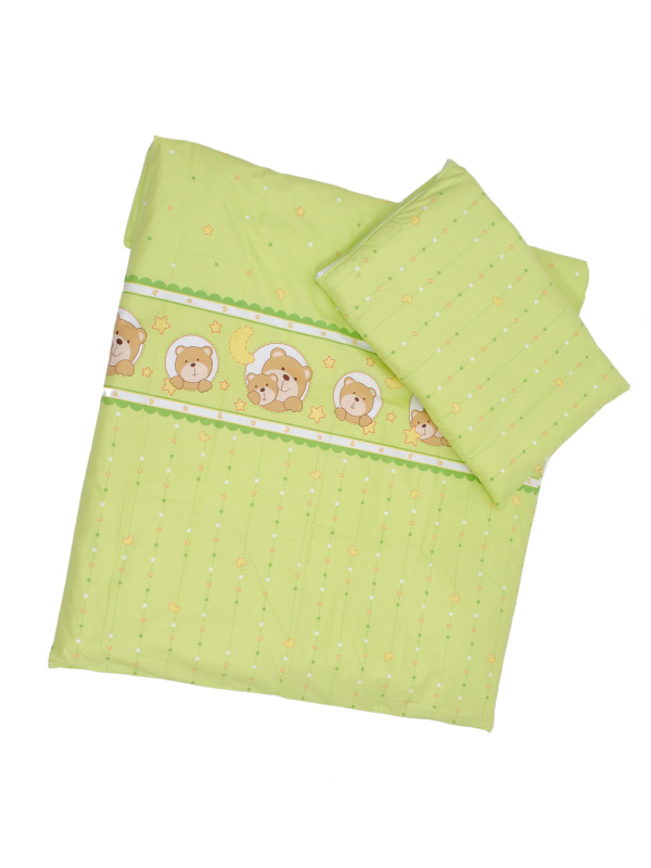Obliečky (zelená) - Mackovia - Veľkost: 120x90 (paplón) + 40x60 (vankúš)