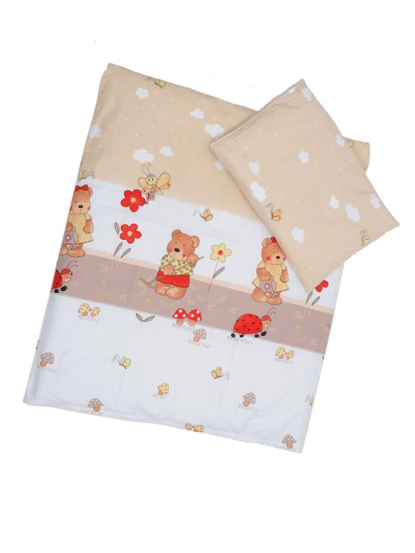 Obliečky (hnedo-biela) - Macko s motýlikmi - Veľkost: 120x90 (paplón) + 40x60 (vankúš)