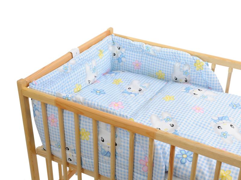 Trojdielna súprava - obliečky + mantinel  (modro-biela) - Mačička - Veľkost: 120x90 (paplón) + 40x60 (vankúš)