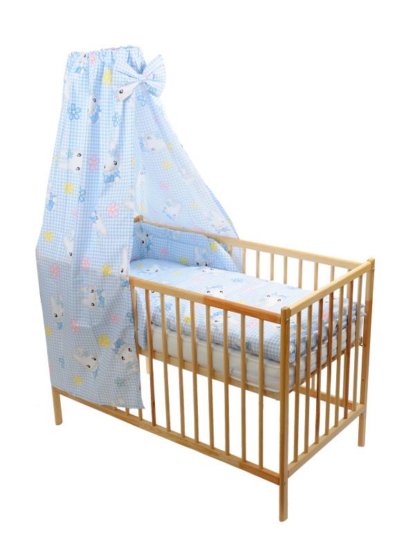 Štvordielna suprava - obliečky + mantinel + baldachýn (modro-biela) - Mačička - Veľkost: 120x90 (paplón) + 40x60 (vankúš)