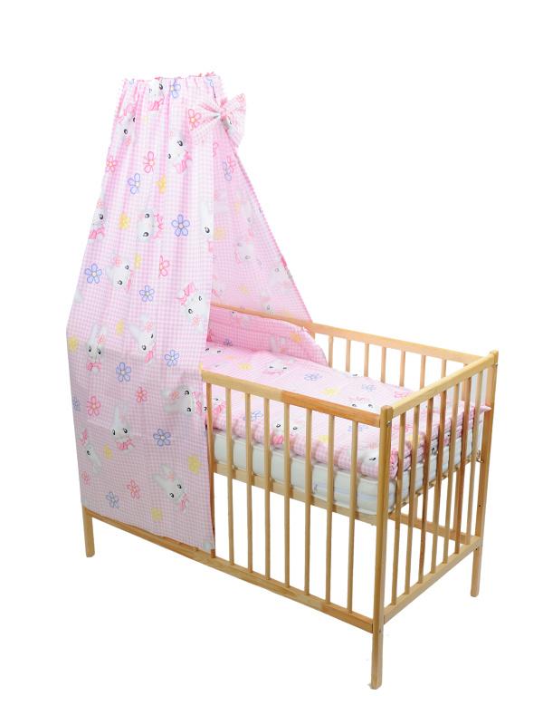 Štvordielna suprava - obliečky + mantinel + baldachýn (ružovo-biela) - Mačička - Veľkost: 120x90 (paplón) + 40x60 (vankúš)