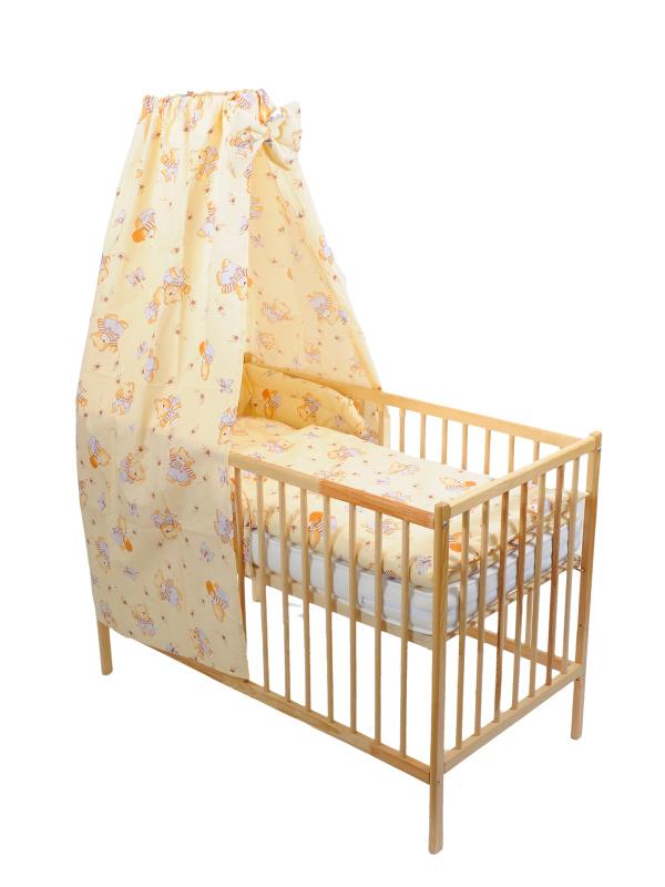 Štvordielna suprava - obliečky + mantinel + baldachýn (žltá) - Macko s medom - Veľkost: 120x90 (paplón) + 40x60 (vankúš)