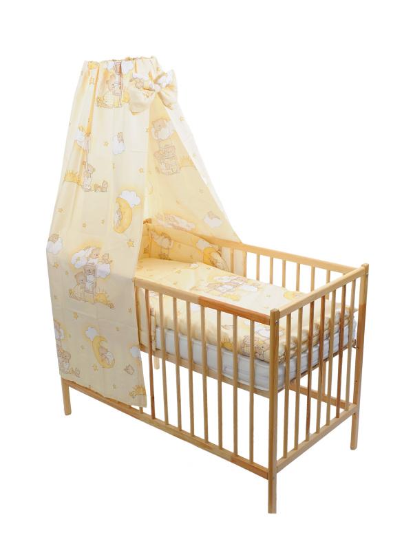 Štvordielna suprava - obliečky + mantinel + baldachýn (smotanová) - Macko na rebríku - Veľkost: 120x90 (paplón) + 40x60 (vankúš)