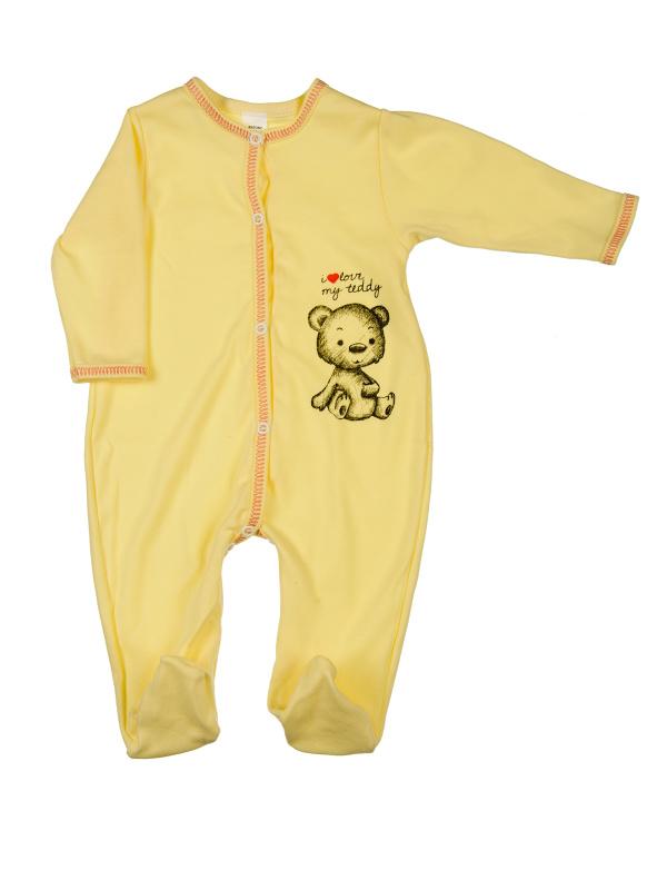 Overal rozopínací - i love my teddy - žltý - Veľkost: 56