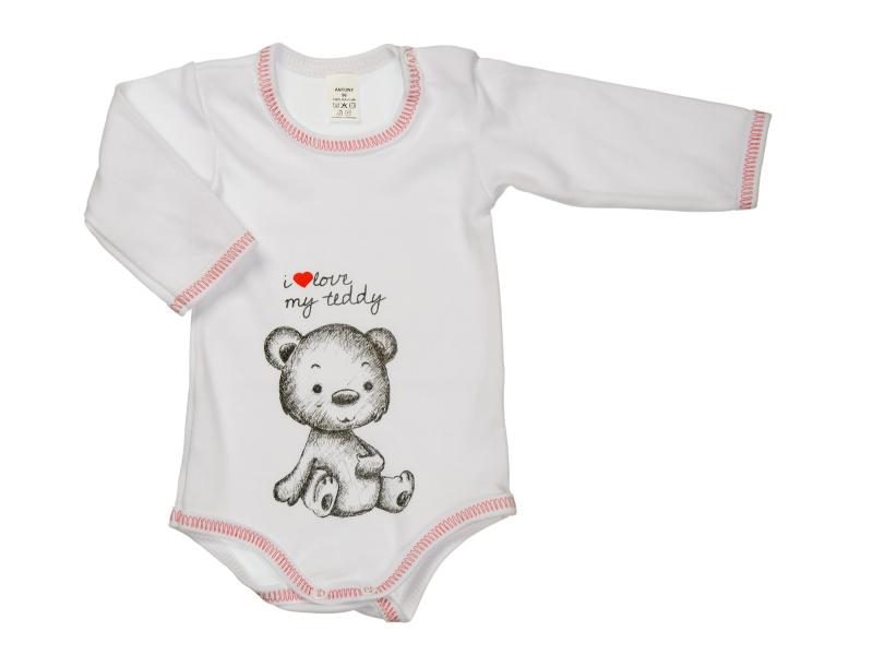 Body s dlhým rukávom - i love my teddy - biele - Veľkost: 92