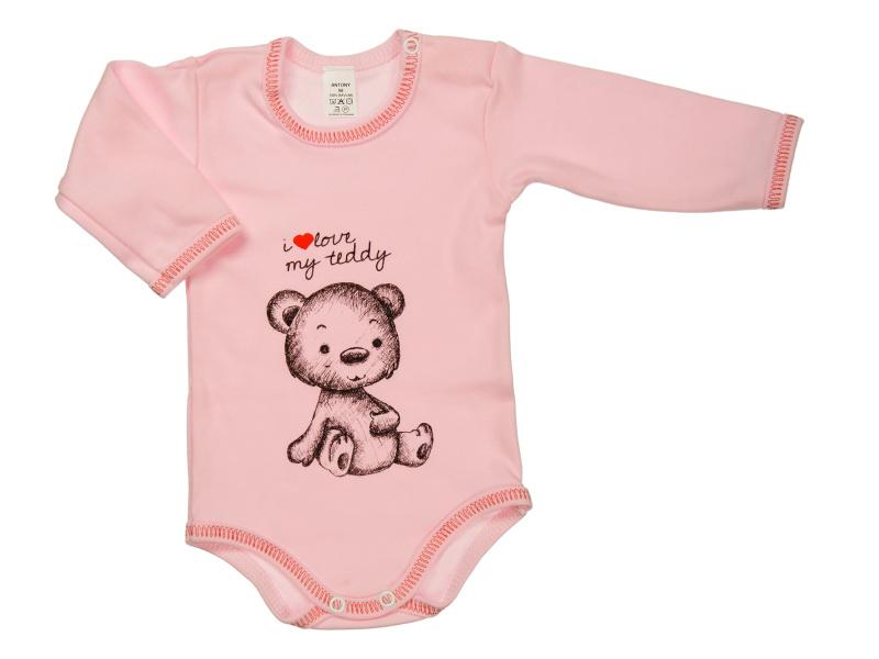 Body s dlhým rukávom - i love my teddy - ružové - Veľkost: 92