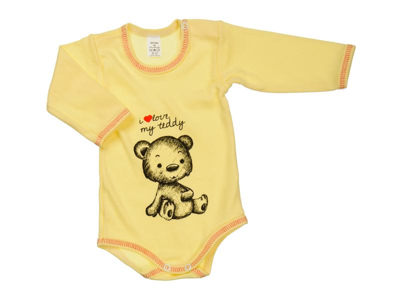 Body s dlhým rukávom - i love my teddy - žlté - Veľkost: 92