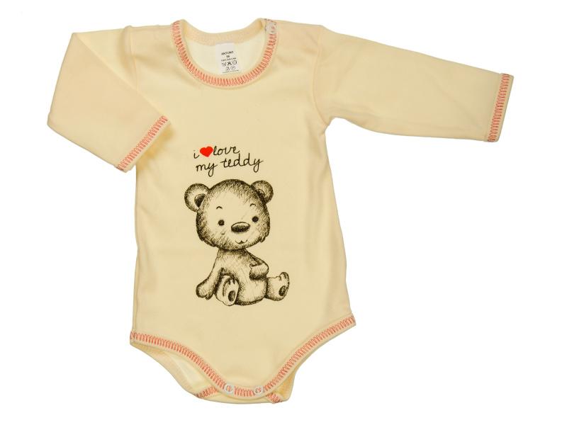 Body s dlhým rukávom - i love my teddy - smotanové - Veľkost: 92