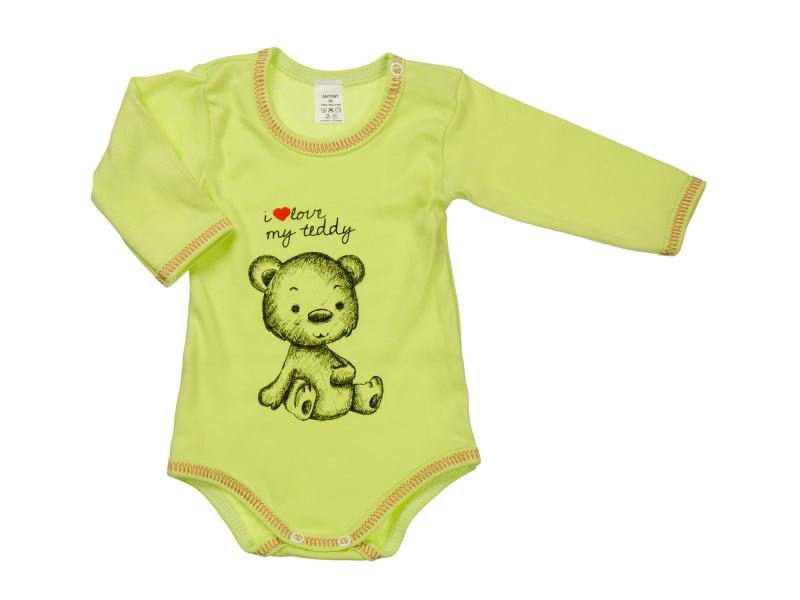 Body s dlhým rukávom - i love my teddy - zelené - Veľkost: 92