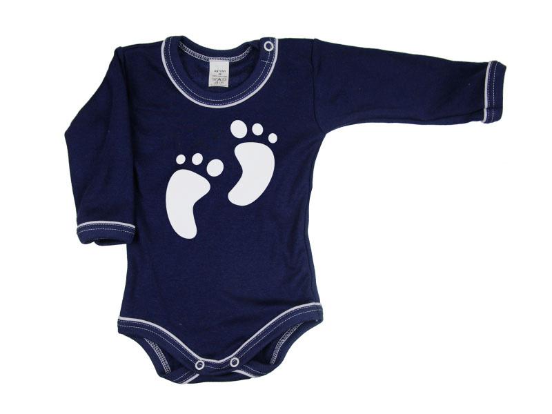 Body dlhý rukáv - Feet - tmavomodré - Veľkost: 104