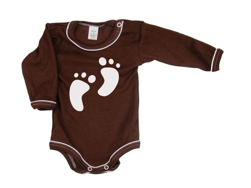 Body dlhý rukáv - Feet - hnedé - Veľkost: 104