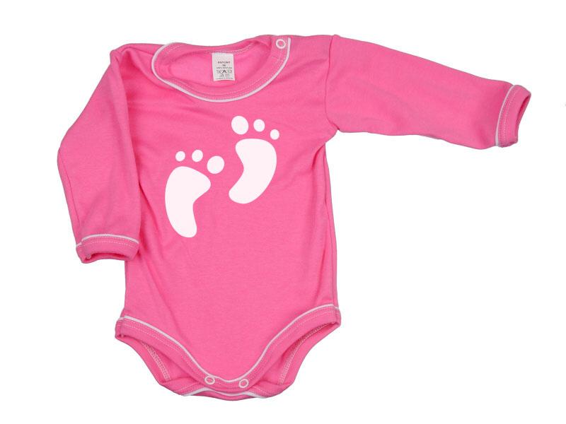 Body dlhý rukáv - Feet - tmavoružové - Veľkost: 104