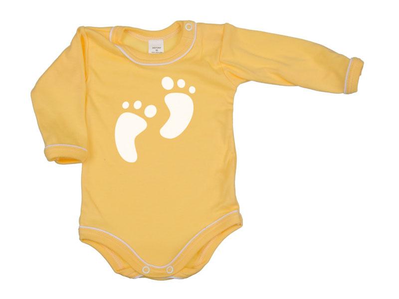 Body dlhý rukáv - Feet - tmavožlté - Veľkost: 104