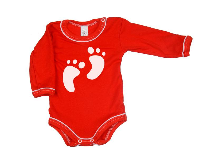 Body dlhý rukáv - Feet - červené - Veľkost: 104