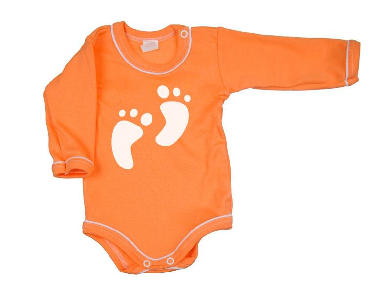 Body dlhý rukáv - Feet - oranžové - Veľkost: 104